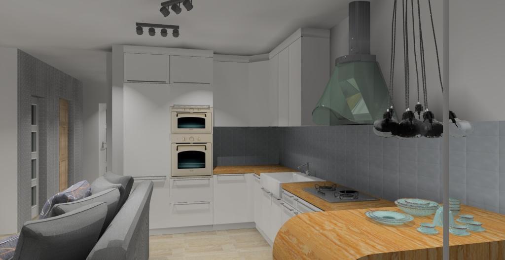 Szaro-biały salon w stylu skandynawskim, meble kuchenne białe