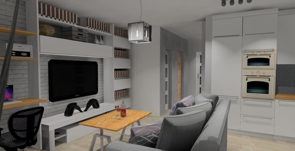 Szaro-biały salon w stylu skandynawskim, stolik kawowy