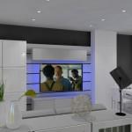 Szaro-biały salon  z kuchnią w stylu nowoczesnym