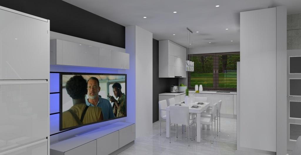 Szaro-biały salon z kuchnią w stylu nowoczesnym, ściana rtv, meblościanka biała, stół, kuchnia biała