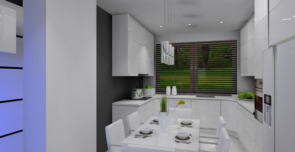Szaro-biały salon z kuchnią w stylu nowoczesnym, szafki górne białe, stół