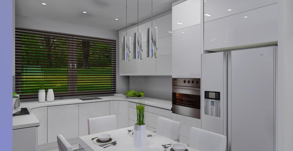 Szaro-biały salon z kuchnią w stylu nowoczesnym, kuchnia biała, lodówka side by side