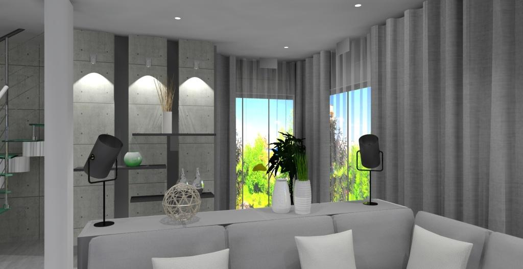 Szaro-biały salon z kuchnią w stylu nowoczesnym, płyty betonowe, oświetlenie, schody