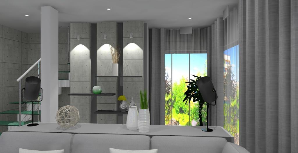Szaro-biały salon z kuchnią w stylu nowoczesnym, schody, półki szafki
