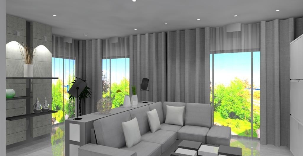 Szaro-biały salon z kuchnią w stylu nowoczesnym, narożnik, płyty betonowe, stolik kawowy