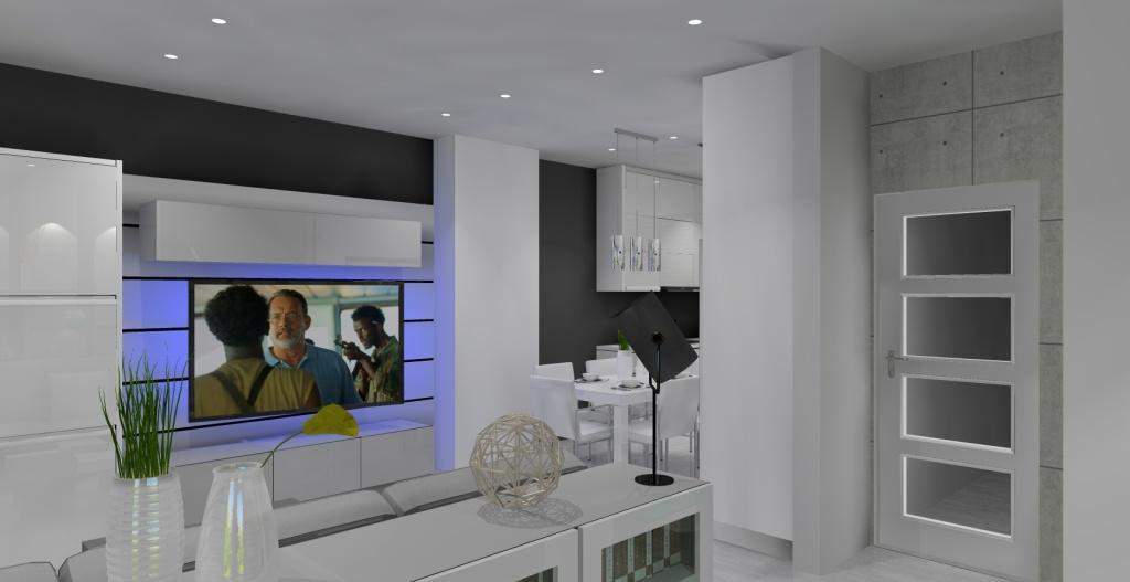 Szaro-biały salon z kuchnią w stylu nowoczesnym, meblościanka biała, sufit podwieszany