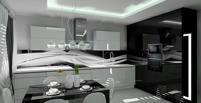 Kuchnie czarno biała  projekt