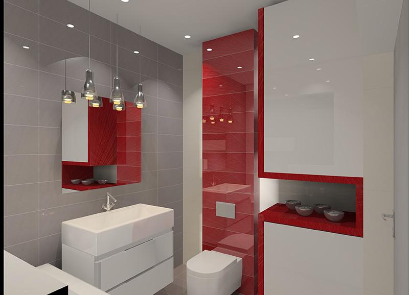 lazienka-bialo-szaro-czerwona-wanna-zabudowa-pralki-oswietlenie-nad-lustrem