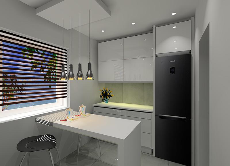 Mała kuchnia w bloku z wielkiej płyty  Projekty i aranżacje wnętrz  Fabryka   -> Mala Ergonomiczna Kuchnia
