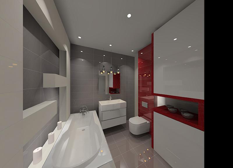 Projekt łazienki Biało Szaro Czerwonej Projekty Wnętrz I
