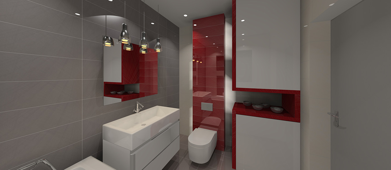 Projekt łazienki biało szaro czerwonej