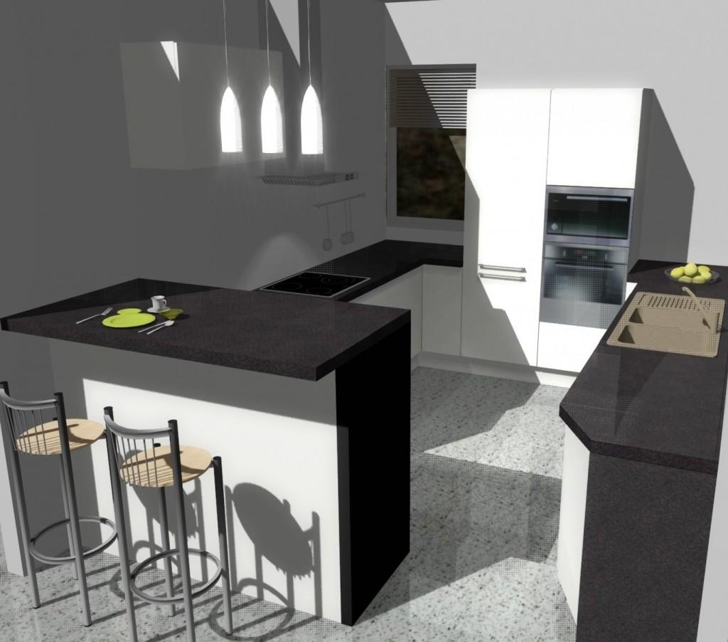 Projekt kuchni z jednym małym oknem