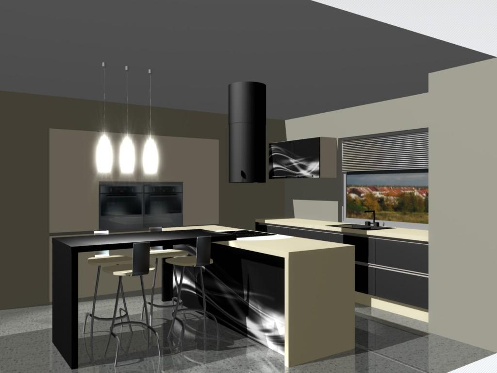 kuchnia, meble kuchenne czarne, fototapeta na wyspie kuchennej