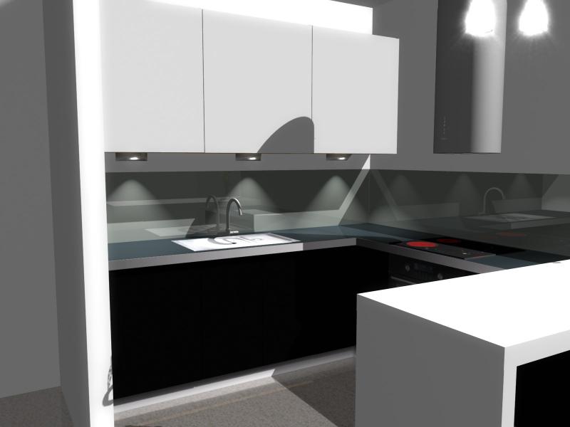 Projekt kuchni z barkiem czarnym