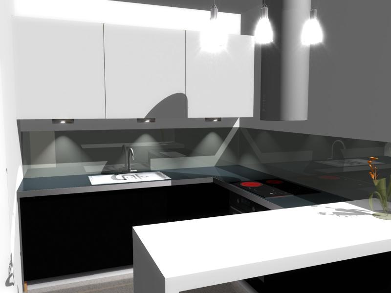 Projekt kuchni z szafkami tradycyjnymi białymi