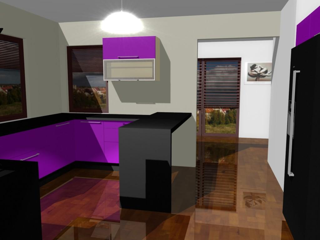 Projekty kuchni w fiolecie z ramkami aluminiowymi w szafkach