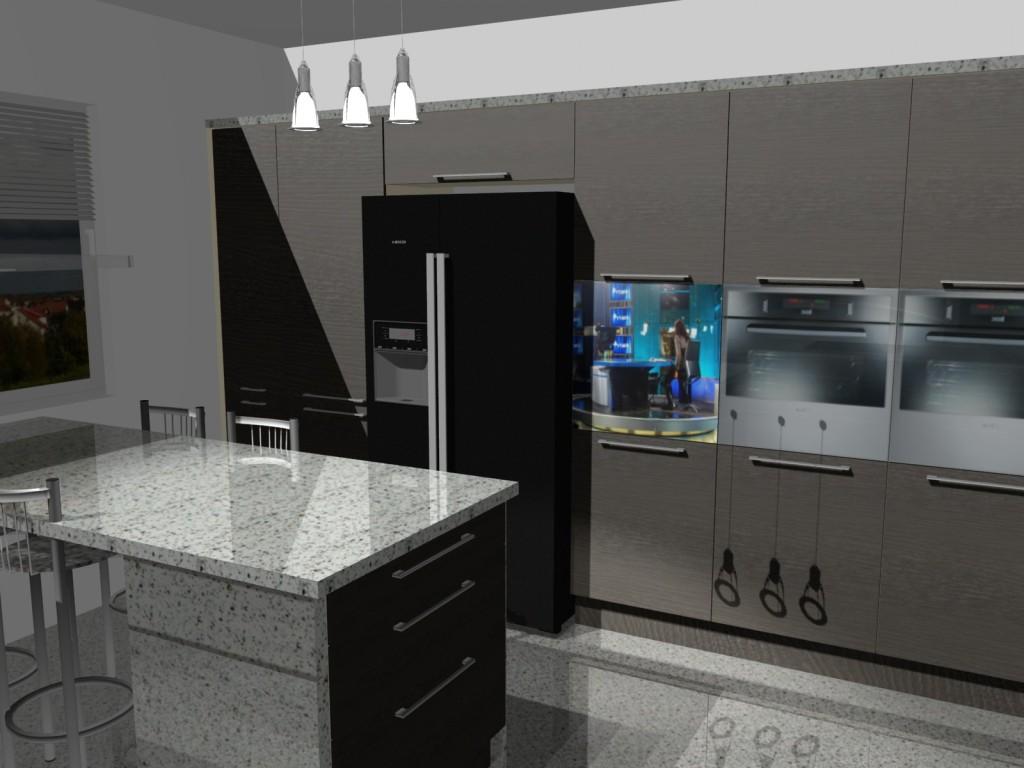 Projekt kuchni z barkiem i lodówka side by side