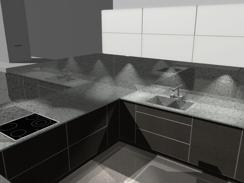 projekt kuchni z blatem kamiennym, kamień na ścianie