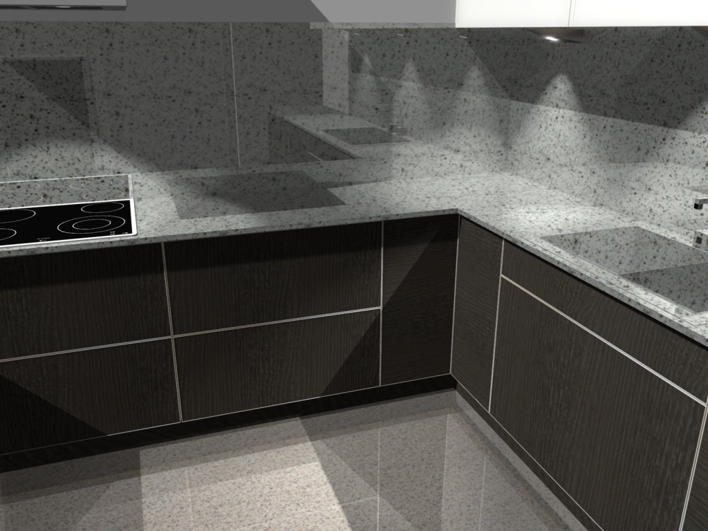 projekt kuchni z blatem kamiennym, fronty bez uchwytów