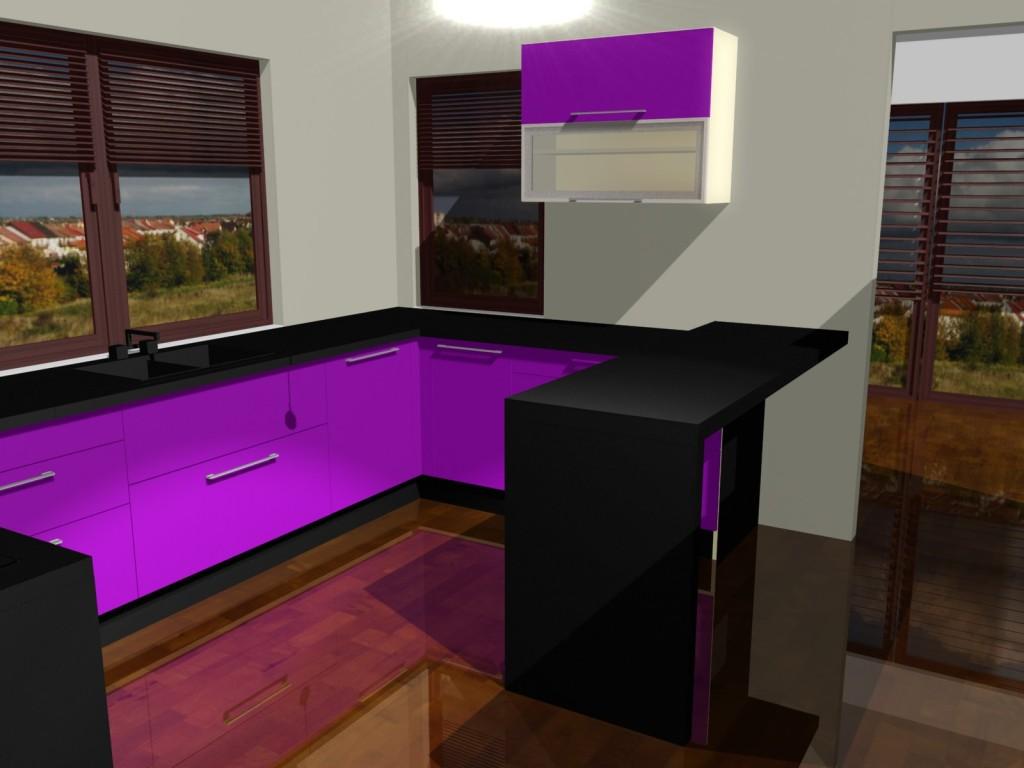 Projekty kuchni w fiolecie z dwoma oknami drewnianymi