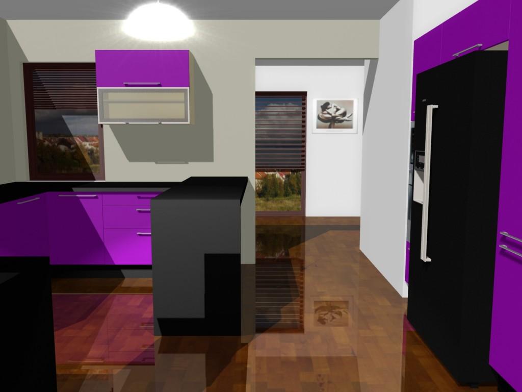 projekty kuchni fioletowej z lodówką side by side