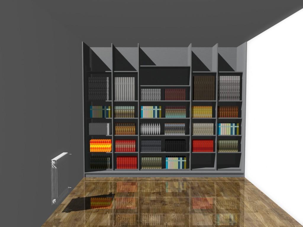 Projekt szafy na książki z drzwiami suwanymi