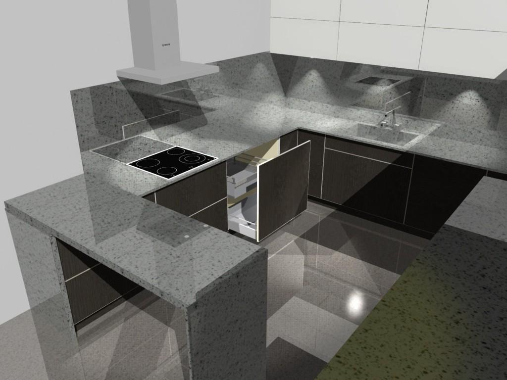 szuflada wewnętrzna w małej kuchni, blat kamienny