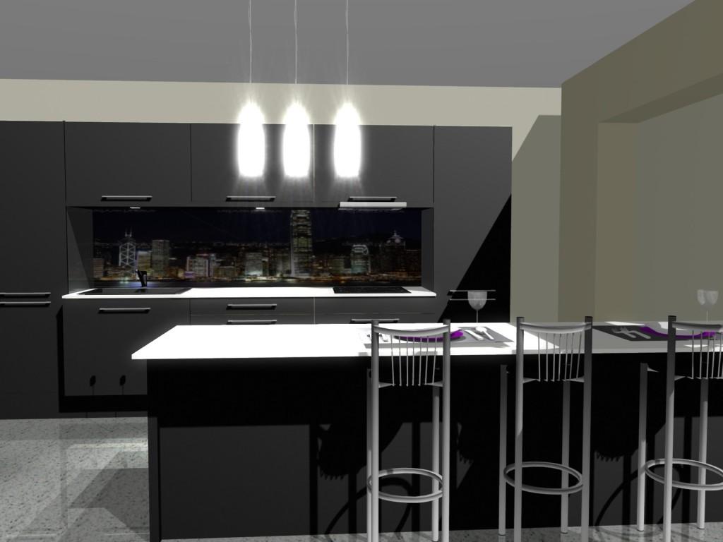 Projekt kuchni czarnej z białymi blatami i hokerami