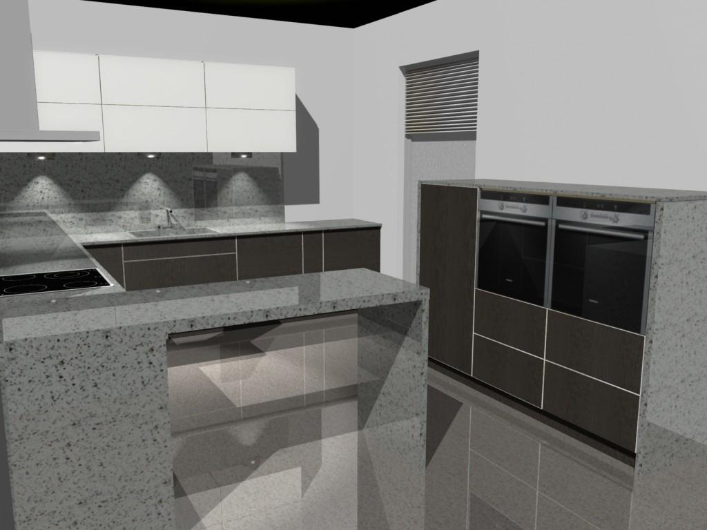 Projekt kuchni z niskimi słupkami wenge