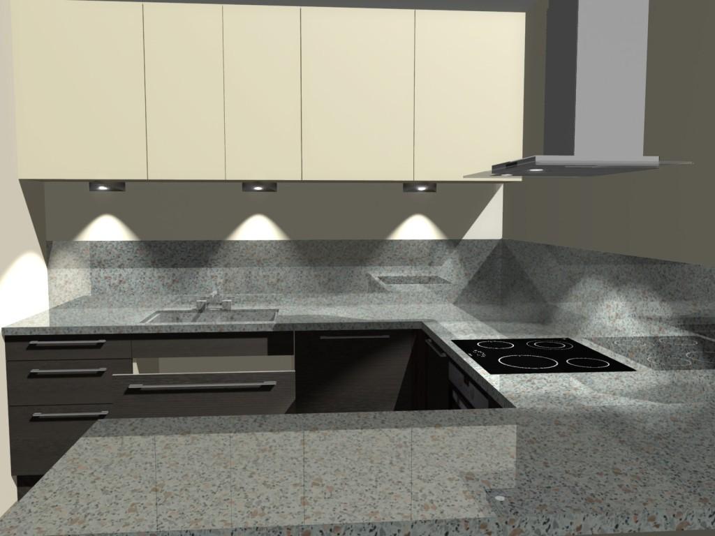 Projekt kuchni z kamienna ścianą i blatem kamiennym