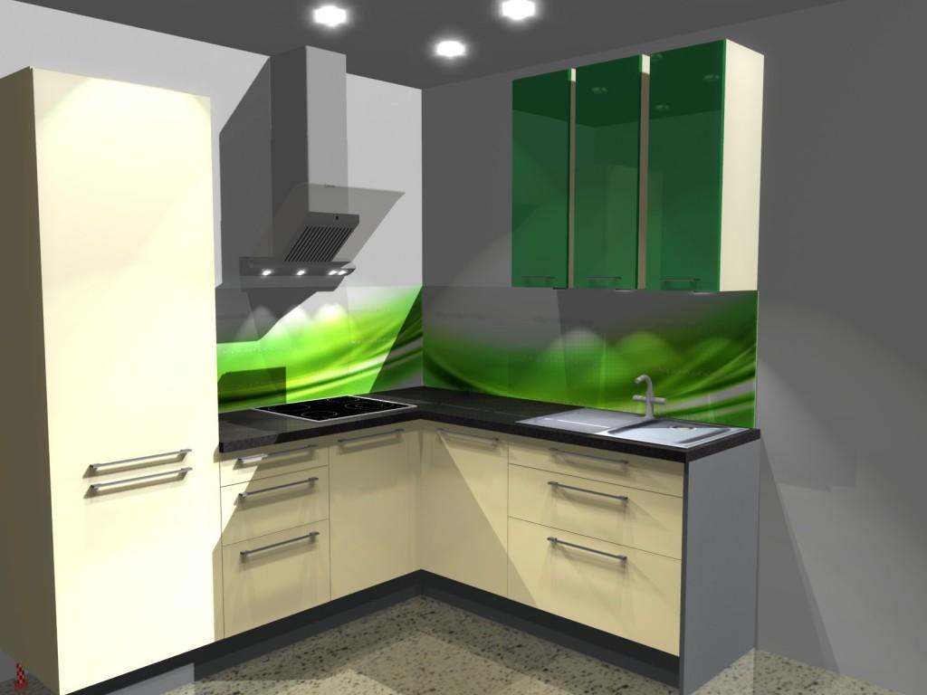 Projekt kuchni z fototapetą zieloną na ścianie