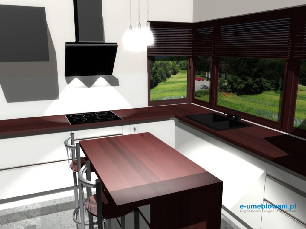 Projekt kuchni z okapem wertykalnym i oknem narożnym