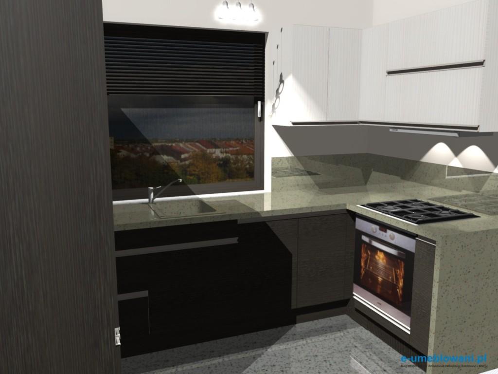 projekt kuchni z jednym oknem, zlew pod oknem