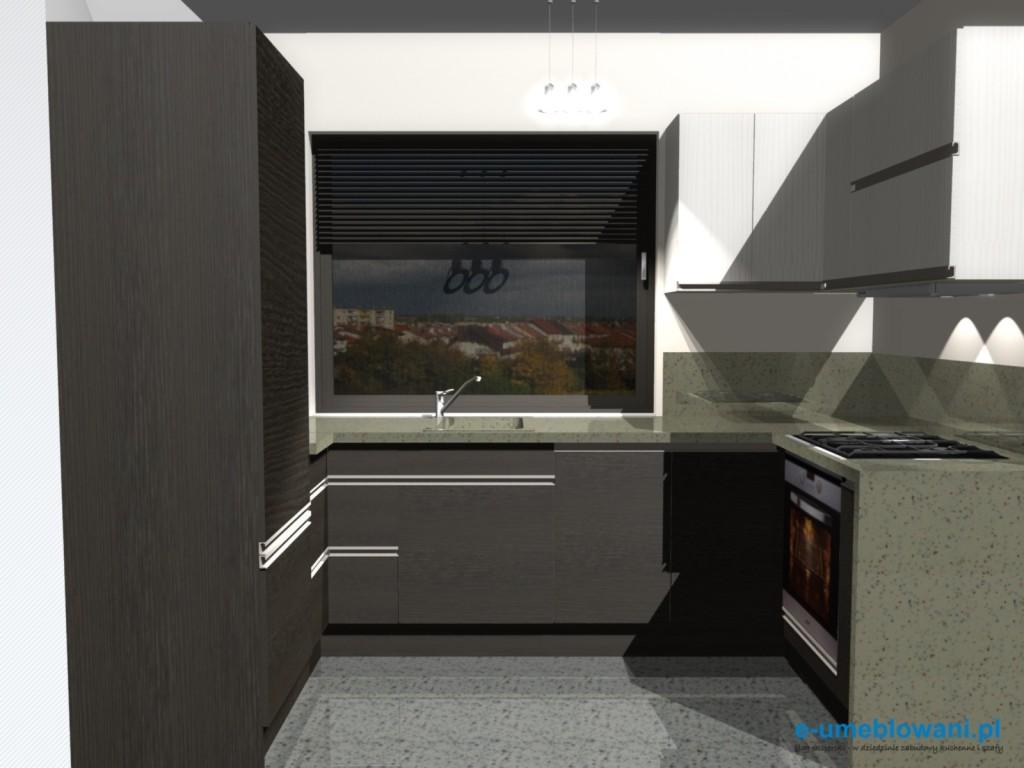 Aranżacja kuchni z lodówką do zabudowy wenge