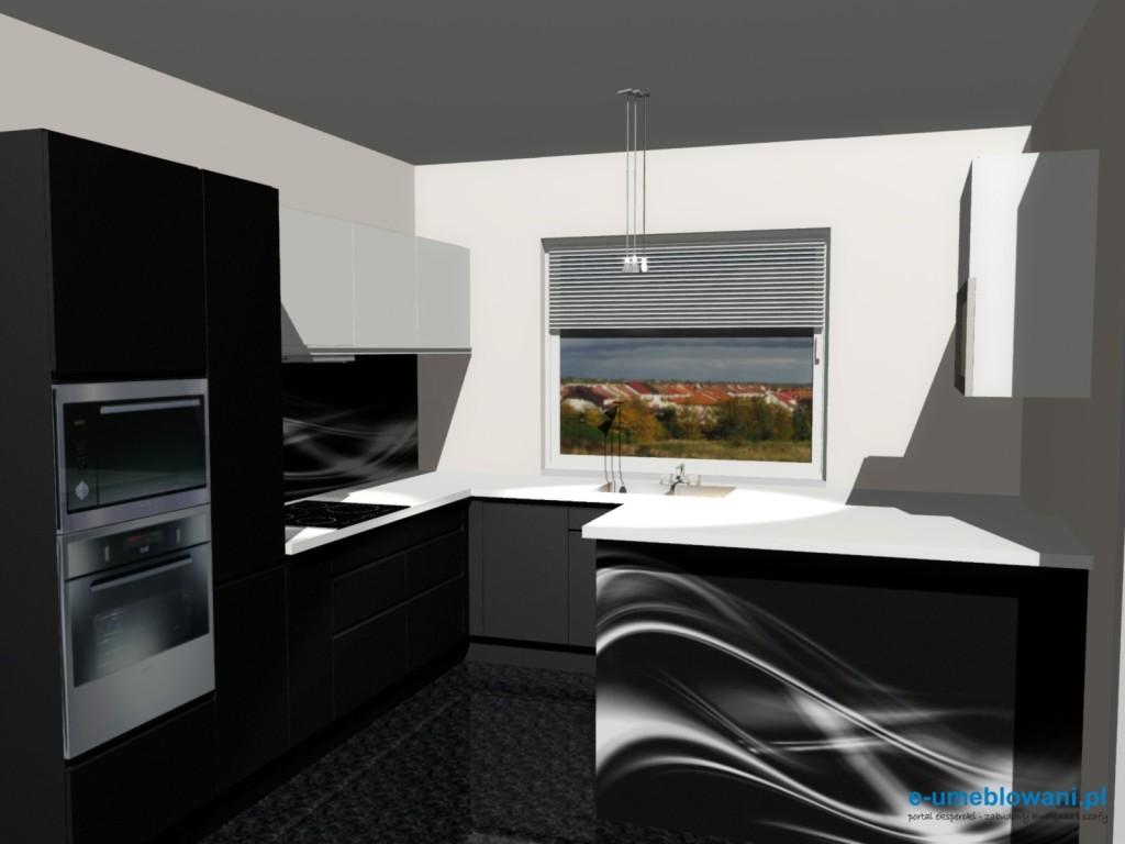 Aranżacje kuchni czarno - białej z barkiem i fototapetą