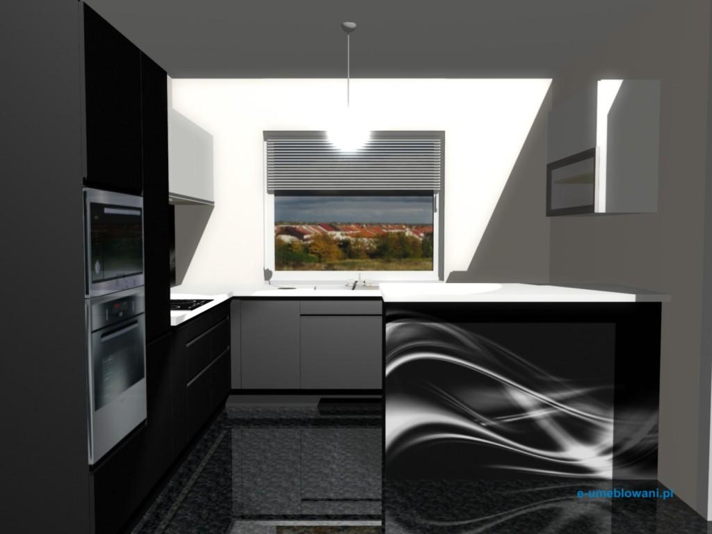 projekt kuchni z barkiem, kuchnia z jednym oknem
