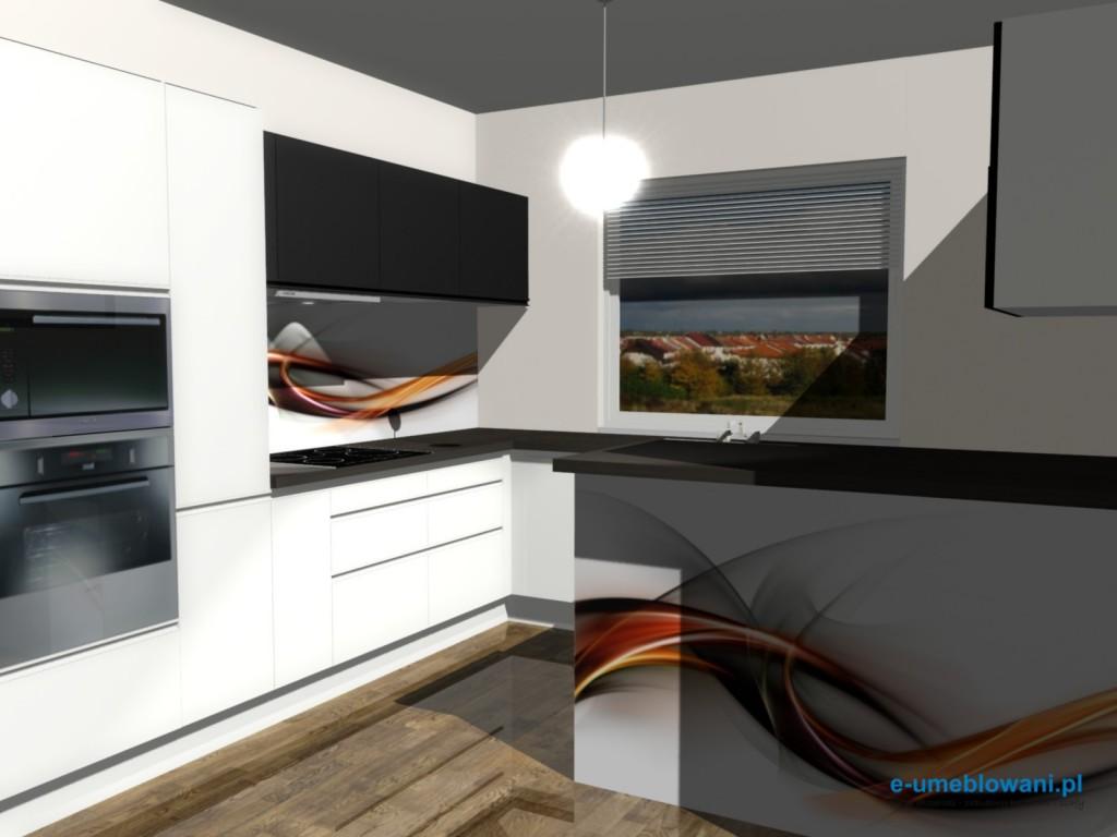 Projekt kuchni z fototapetą na barku kuchennym