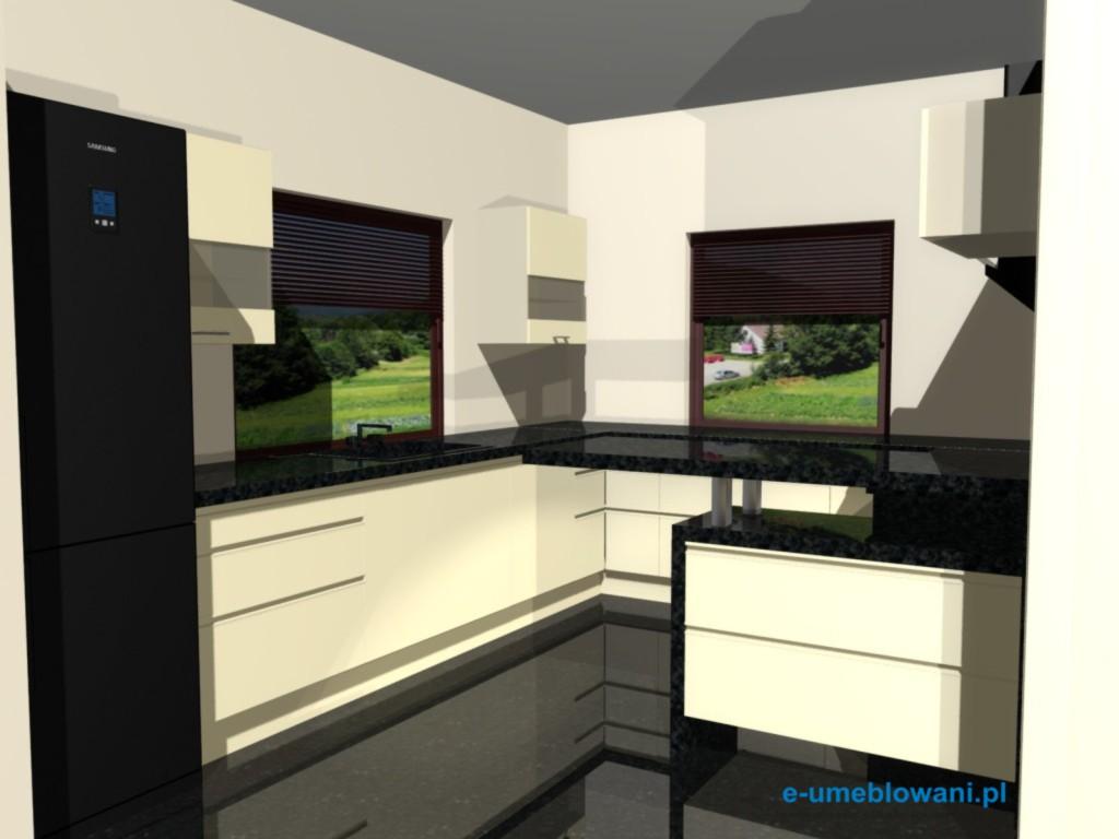 projekt kuchni z witrynami, blat kamienny, kuchnia z dwoma oknami