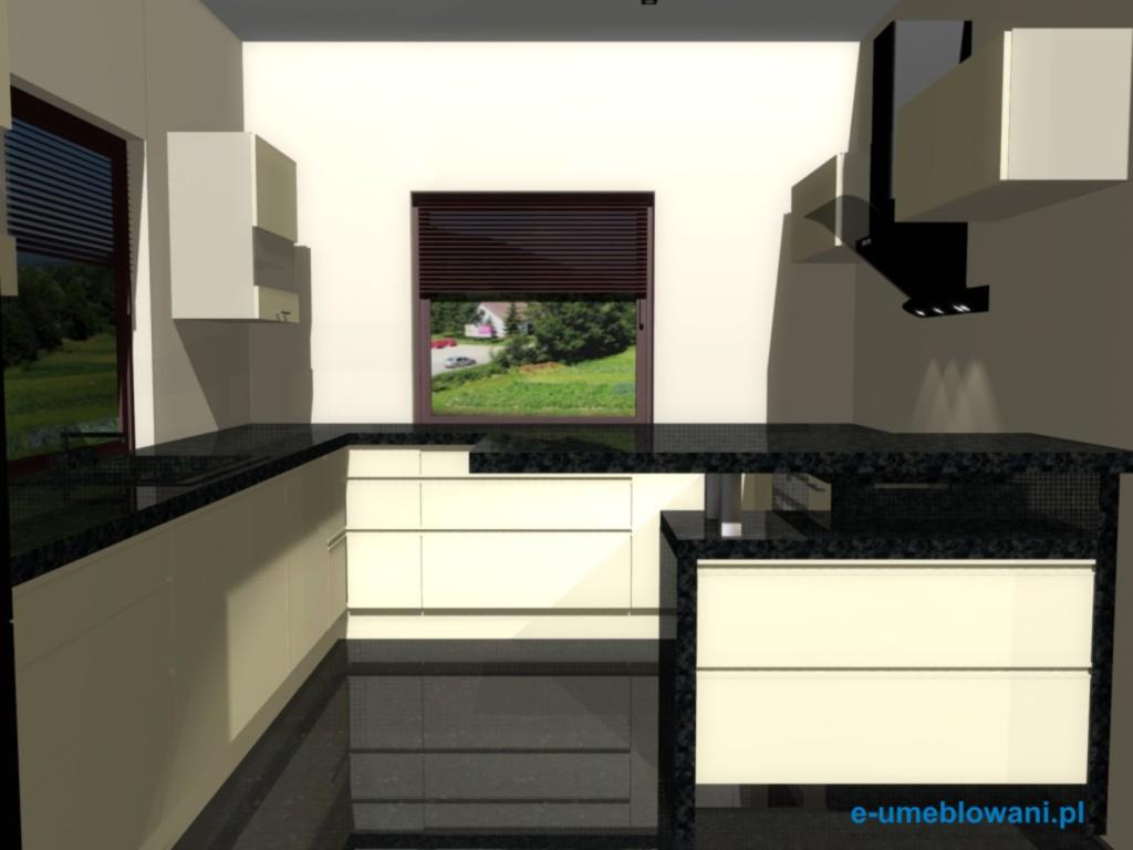 Projekt kuchni z barkiem i nadstawką z czarnego blatu