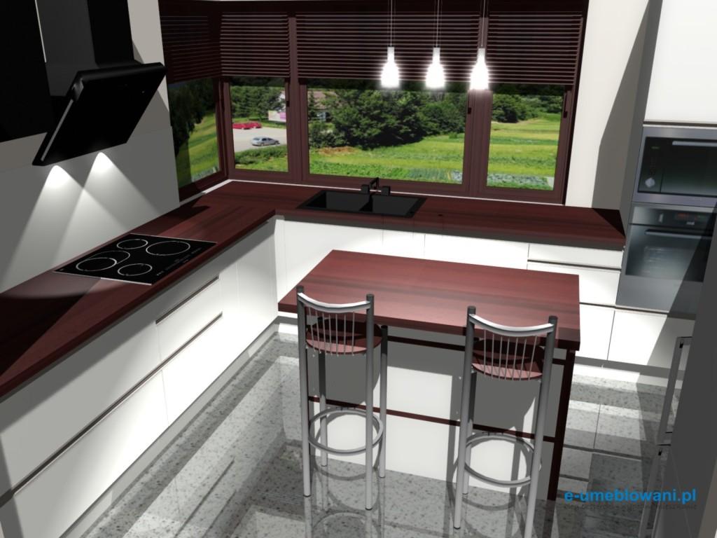 projekt kuchni z oknem narożnym i barkiem