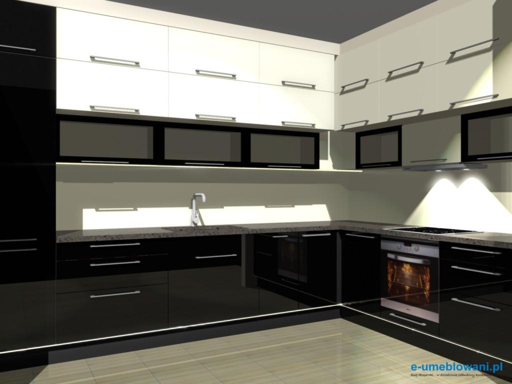 projekt kuchni szafki do sufitu, czarne szafki dolne, górne wanilia