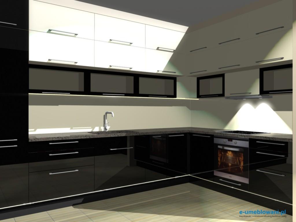 projekt kuchni szafki do sufitu, wanilia, witryny, czarne szafki dolne