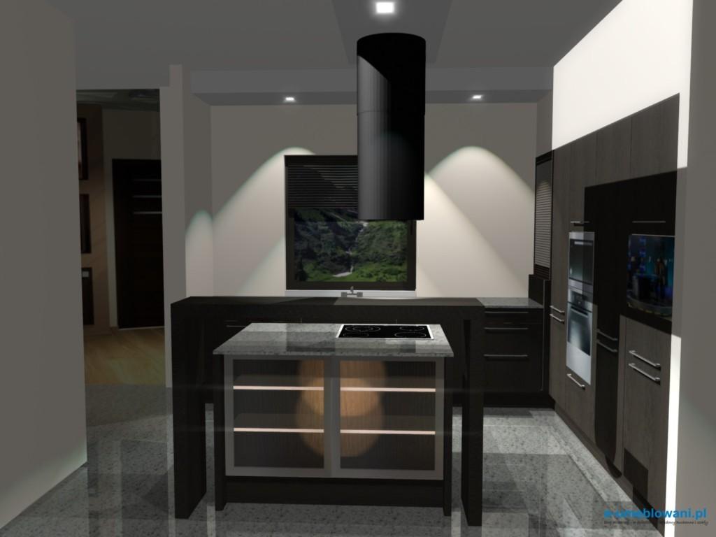 projekt kuchni z salonem, wyspa, witryny, wenge kuchnia