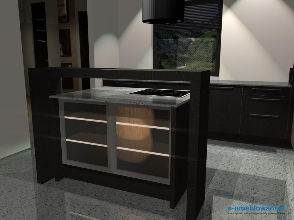 projekt kuchni z wyspa z podświetlanymi półkami