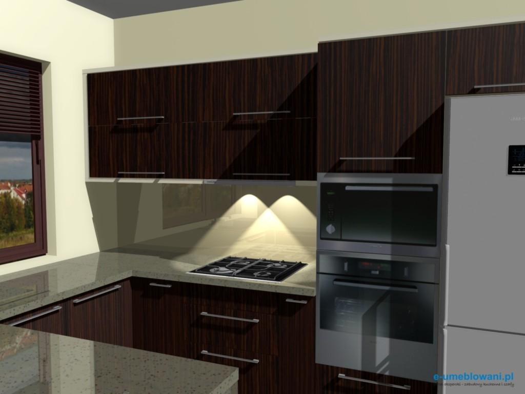 projekt kuchni zebrano z beżem 3