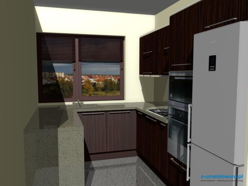 projekt kuchni zebrano z beżem