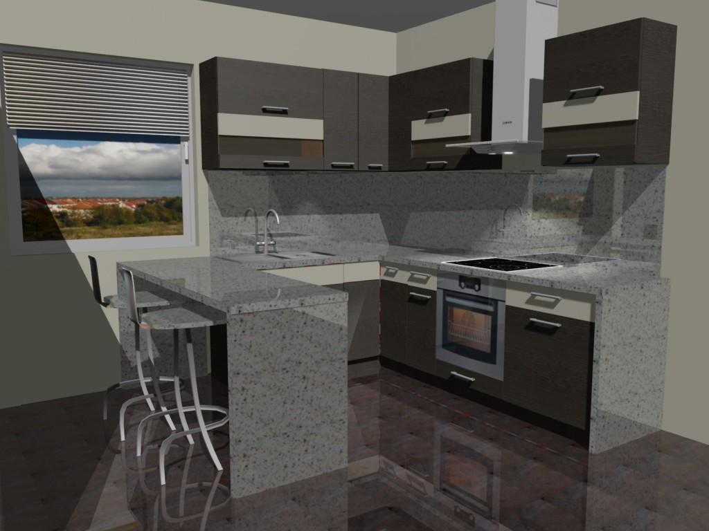 Projekt kuchni małej z witrynami