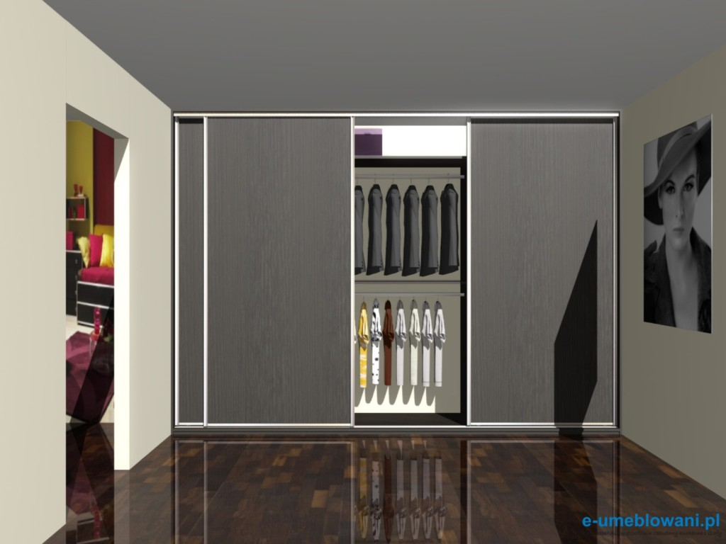 projekty szaf - szafa wnękowa z drzwiami orzesuwnymi wenge