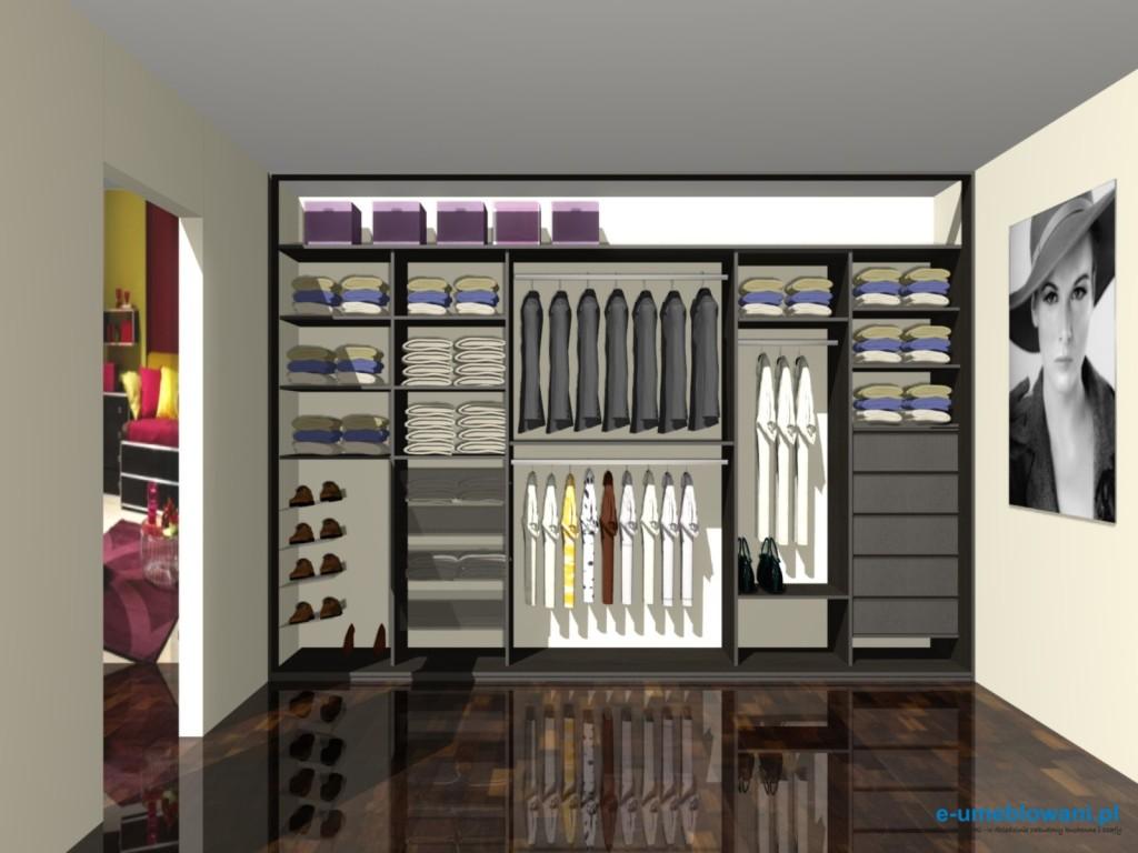 projekt szafy wnękowej, miejsce na buty, koszule, torebki, bieliznę
