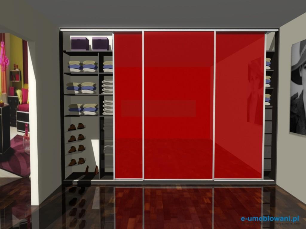 projekty szaf - szafa wnękowa z drzwiami suwanymi, szkło czerwone